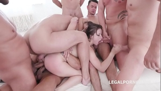 10 on 1 gang team fuck for ultra wench gabriella lati 10 swallows!