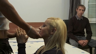 Cuckold watching how her wench white wife is being drilled