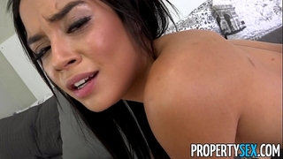 Propertysex - landlord blackmailed into fucking his girlfriends younger sister