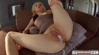 All inner trio with double creampie for blond newbie