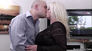 Heavy blond rides his hard meat