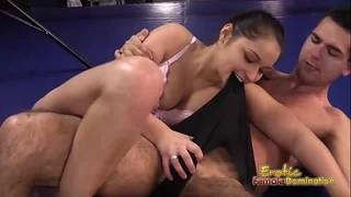 Lana the brunette hair boxer dominates her guy in the ring