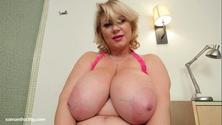 Busty bbw milf samantha 38g drills her muff with fake penis
