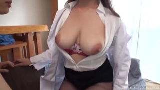 Busty Asian lady gets fucked without taking off her clothes