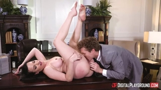Perverted MILF with big tits gets fucked hard in the office