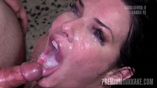 Premium bukkake - veronica avluv swallows 61 massive mouthful cumshots