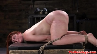 Spreadeagled servitude sub fastened up and whipped
