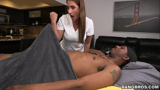 Massage therapist finds a massive dark rod